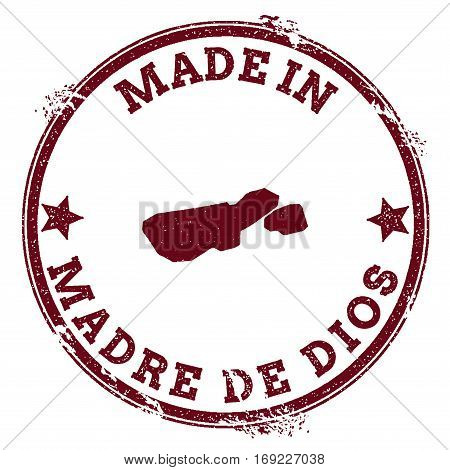 Madre De Dios Island Seal. Vintage Island Map Sticker. Grunge Rubber Stamp With Made In Text And Map