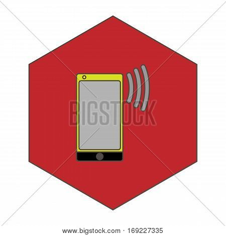 a simple flat color cellphone icon vector