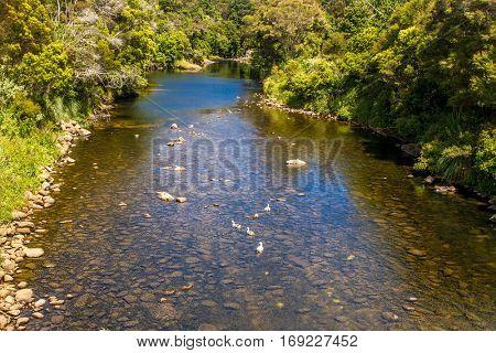view of Kerikeri, Bay of Islands, New Zealand.