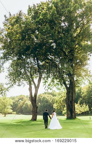 Just married and going rest in tour a green field