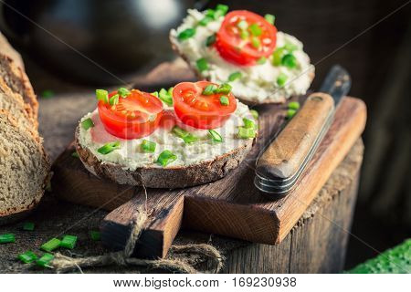 Tasty Sandwich With Fromage Cheese, Cherry Tomatoes And Chive
