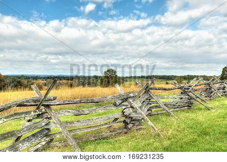 Old fence in Manassas National Battlefield Park in Virginia where the Bull Run battle was fought
