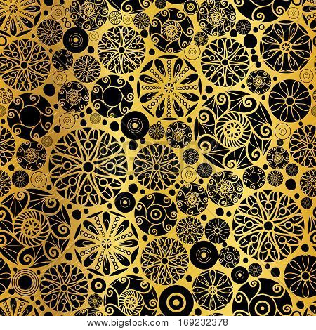 Vector Black Gold Abstract Doodle Circles Seamless Pattern Background. Great for elegant texture fabric, cards, wedding invitations, wallpaper. Surface pattern design.