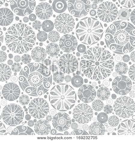 Vector Sliver Grey Abstract Doodle Circles Seamless Pattern Background. Great for elegant gold texture fabric, cards, wedding invitations, wallpaper. Surface pattern design.