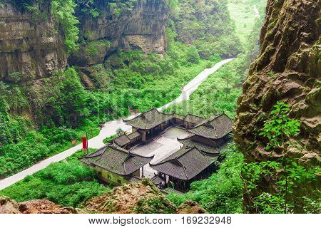 Antique Chinese historical tavern in the woods without people Wulong National Park Chongqing China