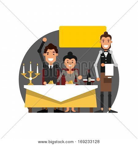 Romantic candlelit dinner in the restaurant. The waiter serves a table. Vector illustration isolated on white background.