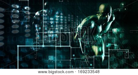 Abstract Network Illustration with System Data Art 3D Illustration Render