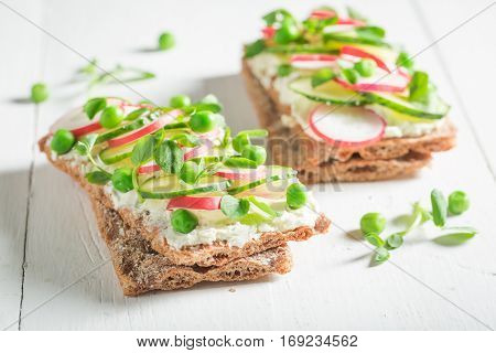 Fresh Sandwich With Crunchy Bread, Fromage Cheese And Avocado