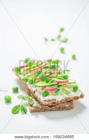 Healthy Sandwich With Crunchy Bread, Fromage Cheese And Avocado