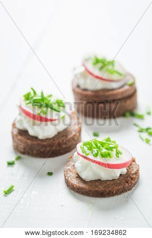 Healthy Sandwich With Pumpernickel Bread, Cottage Cheese And Chive