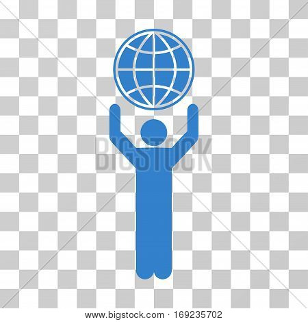 Globalist icon. Vector illustration style is flat iconic symbol cobalt color transparent background. Designed for web and software interfaces.