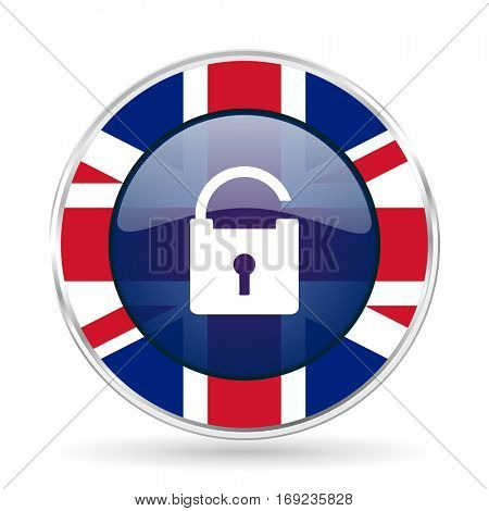 Padlock british design vector icon. Round silver metallic border button with Great Britain flag in eps 10.