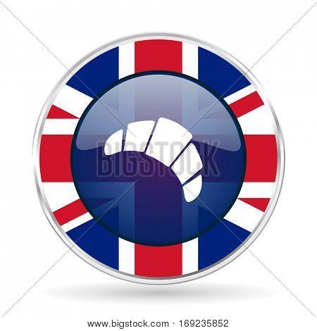 croissant british design icon - round silver metallic border button with Great Britain flag