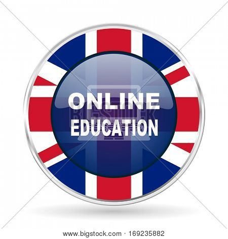 online education british design icon - round silver metallic border button with Great Britain flag