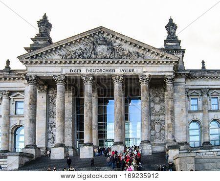 Berlin, Germany - December 16, 2005: Bundestag parliament building with Dem Deutschen Volke sign