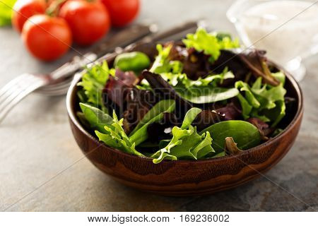 Fresh spring mix salad leaves in wooden bowl with spinach, arugula and lettuce