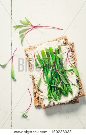 Fresh Sandwich With Asparagus And Fromage Cheese