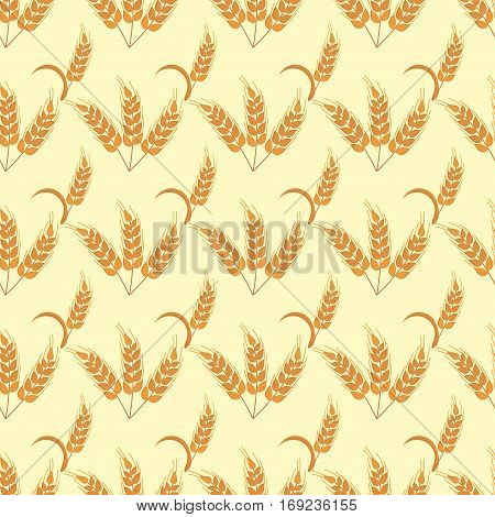 Rye wheat harvest field crop, cereal, bread vector pattern. Ears of golden beautiful nature rural scenery background of ripening ears of meadow rich grain seed concept.