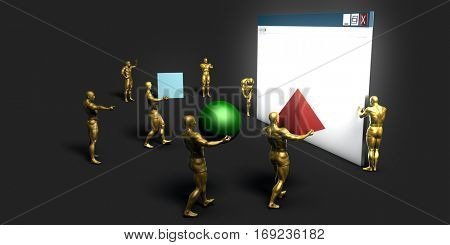 Web Information Technology Art of the Future 3D Illustration Render