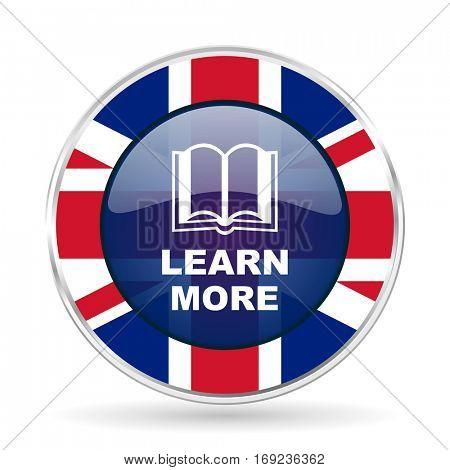 learn more british design icon - round silver metallic border button with Great Britain flag