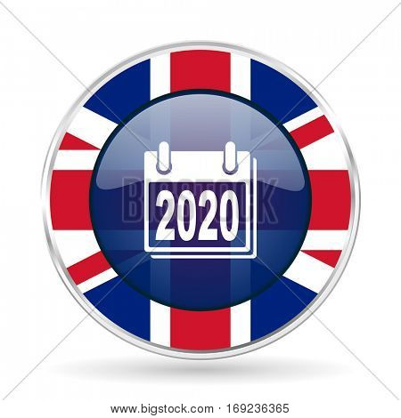 new year 2020 british design icon - round silver metallic border button with Great Britain flag