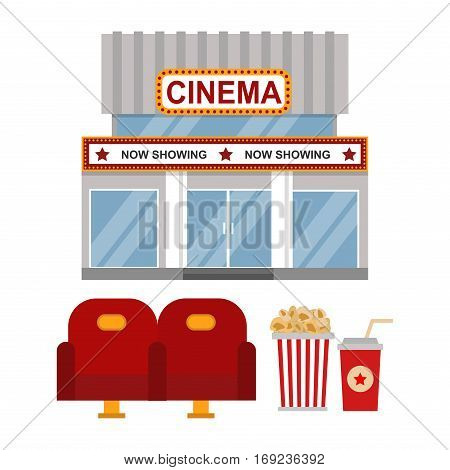 Cinema building facade flat style. Movie theater entertainment film exterior house sign. Night vintage design signboard landmark entrance. Premiere life deco performance.