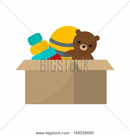 Toy box with teddy bear vector illustration cartoon. Cardboard container child color cute game object. Plastic animal clown doll play.