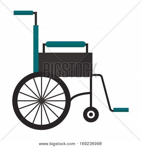 Wheelchair flat design hospital invalid medical icon. Standard custom tool for disabilities people transportation. Disabled carriage healthcare seat injury.