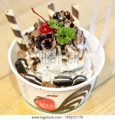 Chocolate shaved ice with whipping cream (Japan dessert style)