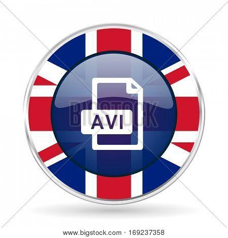avi file british design icon - round silver metallic border button with Great Britain flag.
