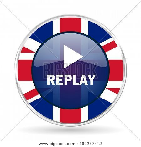 replay british design icon - round silver metallic border button with Great Britain flag