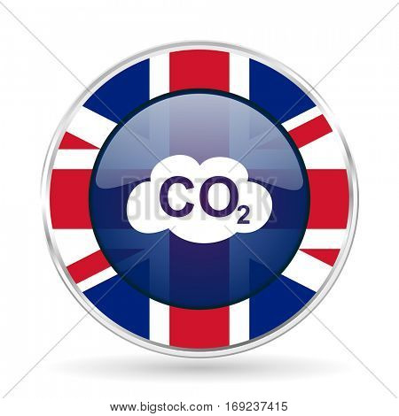 carbon dioxide british design icon - round silver metallic border button with Great Britain flag