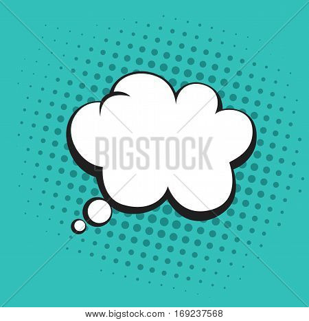 Thoughts Bubble in Pop Art Comics Style. Tosca Green Color Vector Template