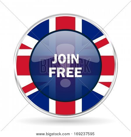 join free british design icon - round silver metallic border button with Great Britain flag