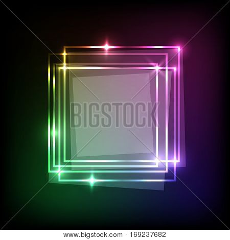 Squares banner on neon colorful abstract background, stock vector