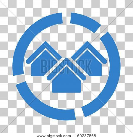 Realty Diagram icon. Vector illustration style is flat iconic symbol cobalt color transparent background. Designed for web and software interfaces.