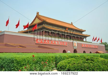 BEIJING, CHINA - JUN.23, 2012: Tiananmen (Tian'anmen or Gate of Heavenly Peace) in Tiananmen Square in the center of Beijing, China. It is widely used as a national symbol. First built during the Ming Dynasty in 1420, Tiananmen is often referred to as the