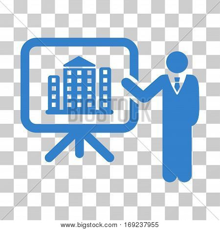 Realty Presention icon. Vector illustration style is flat iconic symbol cobalt color transparent background. Designed for web and software interfaces.