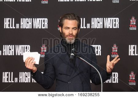 LOS ANGELES - JAN 6:  Chris Pine at the Jeff Bridges Hand and Foot Print Ceremony at TCL Chinese Theater IMAX on January 6, 2017 in Los Angeles, CA