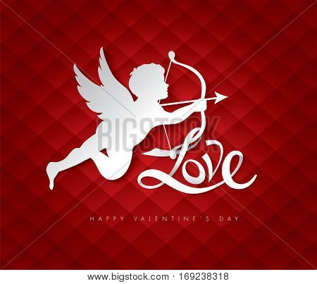 Valentine's day with cut paper cupid. Vector illustration