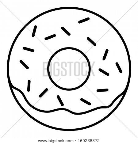Glazed ring donut with sprinkles. Thin line linear vector illustration