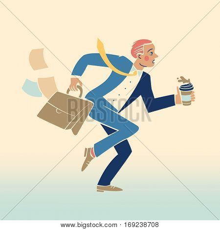 Businessman running late for work, losing papers and spilling coffee