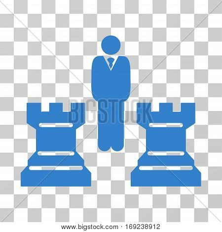 Strategy Chess Towers icon. Vector illustration style is flat iconic symbol cobalt color transparent background. Designed for web and software interfaces.