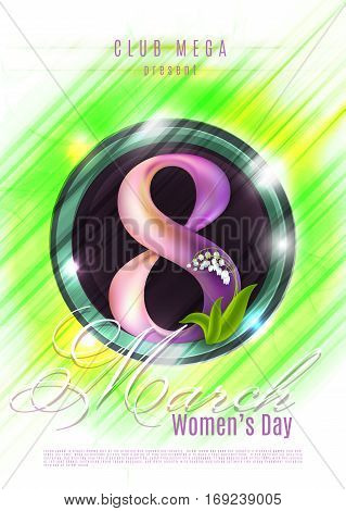 Happy Women's Day poster, 8th March on shiny green background. Beautiful figure 8. Can be used as template, banner or flyer design.