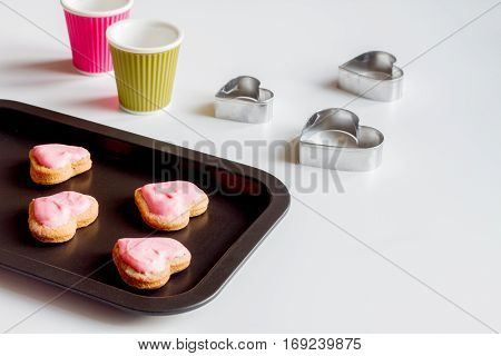 cookies for Valentine's Day heartshaped on white background.