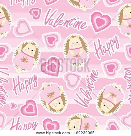 Valentine seamless pattern with cute hedgehog and love shape on pink stripes background suitable for Valentine wallpaper, scrap paper and fabric
