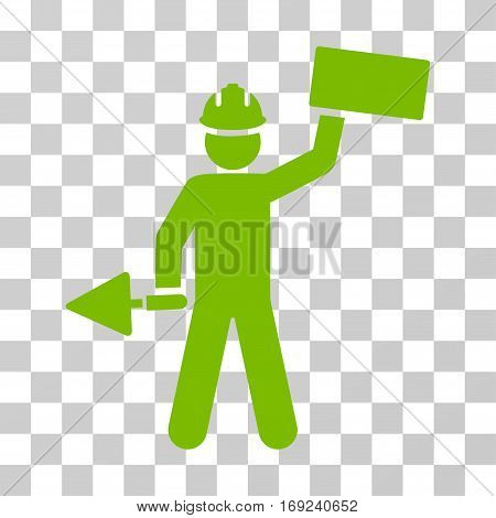 Builder With Brick icon. Vector illustration style is flat iconic symbol eco green color transparent background. Designed for web and software interfaces.