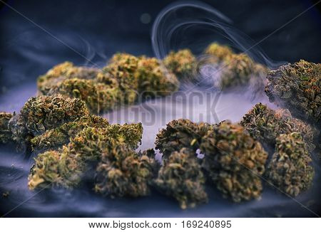 Assorted cannabis buds and white blank paper with smoke swirls on dark background - medical marijuana concept