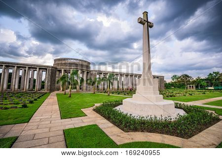 Taukkyan War Cemetery dedicated to allied losses during WWII near Yangon, Myanmar.