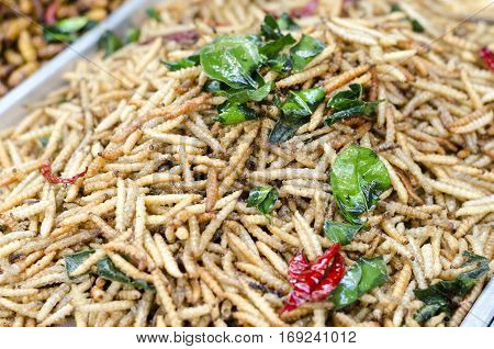 Fried insects street food in Thailand This is fried insect food is high in protein. And delicious especially bamboo worms
